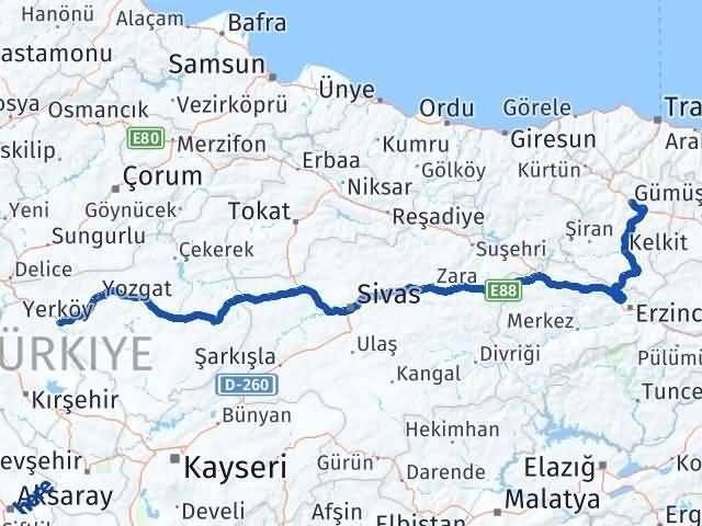 Gümüşhane Yerköy Yozgat Arası Kaç Km? - Kmhesaplama.com Arası Kaç Km Saat? Nerede Yol Haritası Yakıt, Rota ve Mesafe Hesaplama