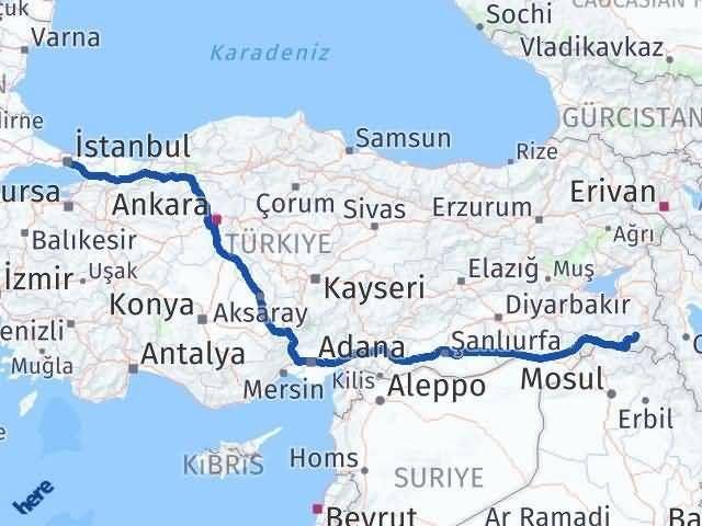 Hakkari İstanbul Arası Kaç Km? Kaç Saat? - Km hesaplama Arası Kaç Km Saat? Nerede Yol Haritası Yakıt, Rota ve Mesafe Hesaplama