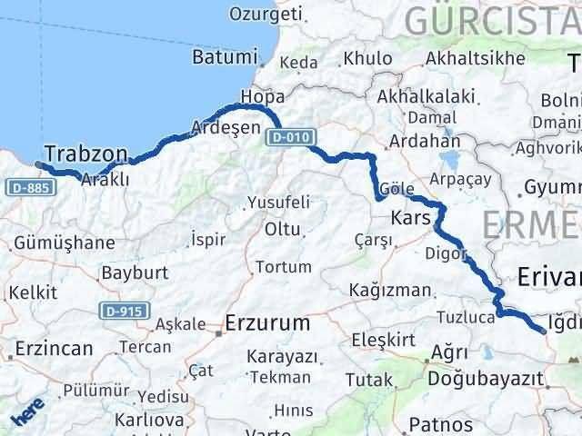 Iğdır Trabzon Arası Kaç Km - Kaç Saat? Arası Kaç Km Saat? Nerede Yol Haritası Yakıt, Rota ve Mesafe Hesaplama