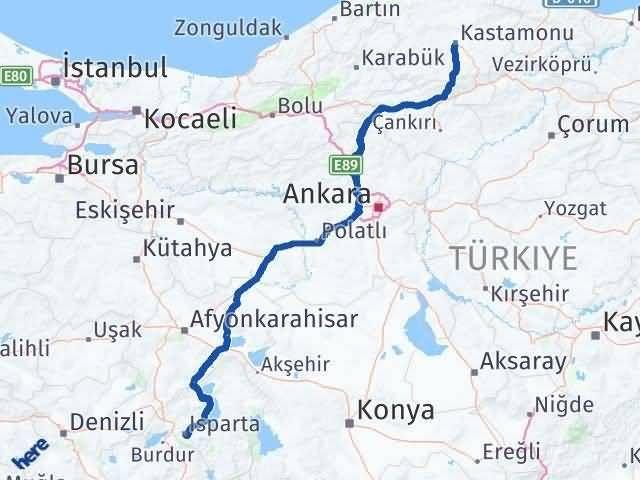 Isparta Kastamonu Arası Kaç Km - Kaç Saat? Arası Kaç Km Saat? Nerede Yol Haritası Yakıt, Rota ve Mesafe Hesaplama