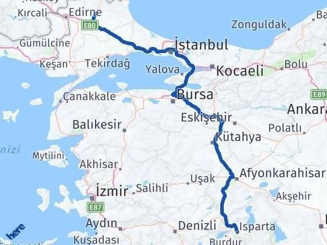 Isparta Kırklareli Arası Kaç Km? Arası Kaç Km Saat? Nerede Yol Haritası Yakıt, Rota ve Mesafe Hesaplama