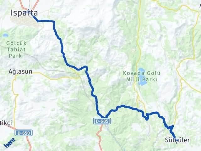 Isparta Sütçüler Arası Kaç Km? Yol Haritası - Km Hesaplama Arası Kaç Km Saat? Nerede Yol Haritası Yakıt, Rota ve Mesafe Hesaplama