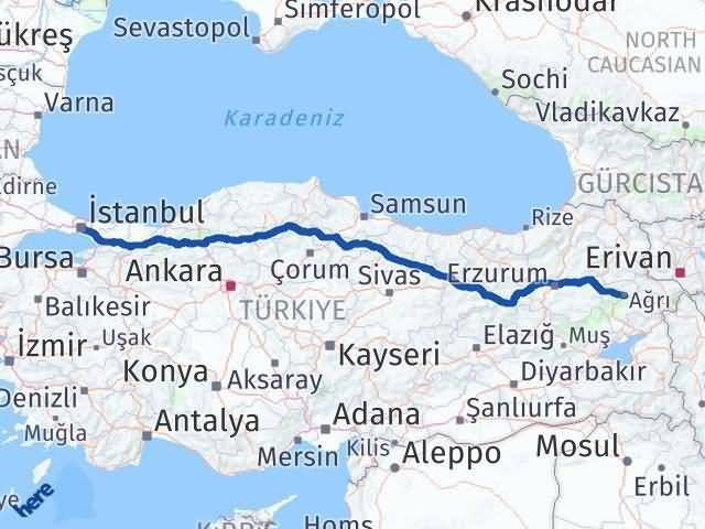 İstanbul Ağrı Arası Kaç Km? Kaç Saat? - Km hesaplama Arası Kaç Km Saat? Nerede Yol Haritası Yakıt, Rota ve Mesafe Hesaplama
