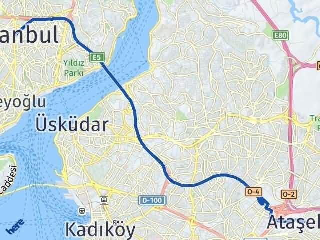 İstanbul Ataşehir Arası Kaç Km? Yol Haritası - Km Hesaplama Arası Kaç Km Saat? Nerede Yol Haritası Yakıt, Rota ve Mesafe Hesaplama