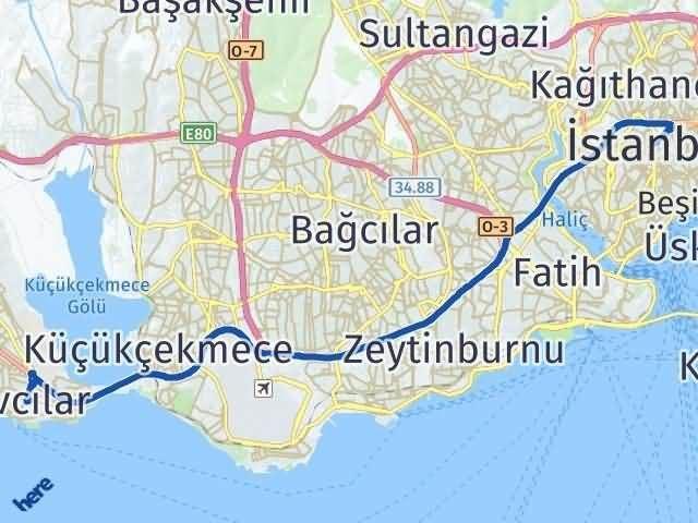 İstanbul Avcılar Arası Kaç Km? Yol Haritası - Km Hesaplama Arası Kaç Km Saat? Nerede Yol Haritası Yakıt, Rota ve Mesafe Hesaplama