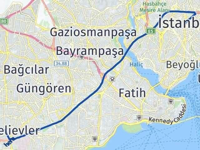 İstanbul Bahçelievler Arası Kaç Km? Yol Haritası - Km Hesaplama Arası Kaç Km Saat? Nerede Yol Haritası Yakıt, Rota ve Mesafe Hesaplama