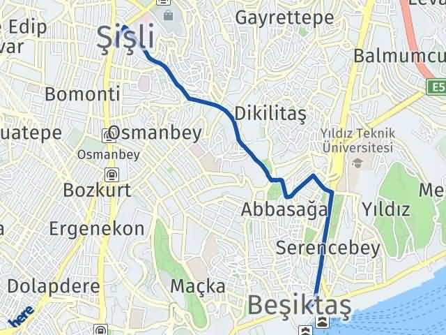 İstanbul Beşiktaş Arası Kaç Km? Yol Haritası - Km Hesaplama Arası Kaç Km Saat? Nerede Yol Haritası Yakıt, Rota ve Mesafe Hesaplama