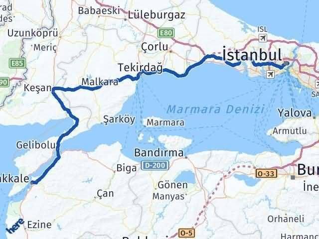 İstanbul Çanakkale Arası Kaç Km? Kaç Saat? - Km hesaplama Arası Kaç Km Saat? Nerede Yol Haritası Yakıt, Rota ve Mesafe Hesaplama