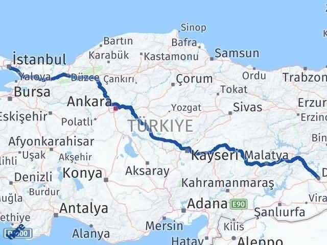İstanbul Diyarbakır Arası Kaç Km? Kaç Saat? - Km hesaplama Arası Kaç Km Saat? Nerede Yol Haritası Yakıt, Rota ve Mesafe Hesaplama