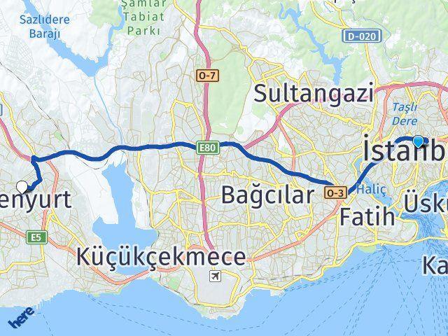 İstanbul Esenyurt Arası Kaç Km? Yol Haritası - Km Hesaplama Arası Kaç Km Saat? Nerede Yol Haritası Yakıt, Rota ve Mesafe Hesaplama