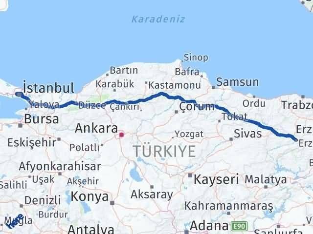 İstanbul Gaziosmanpaşa   Erzincan Arası Kaç Km? Arası Kaç Km Saat? Nerede Yol Haritası Yakıt, Rota ve Mesafe Hesaplama