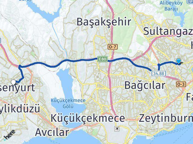 İstanbul Gaziosmanpaşa Esenyurt Arası Kaç Km? Arası Kaç Km Saat? Nerede Yol Haritası Yakıt, Rota ve Mesafe Hesaplama