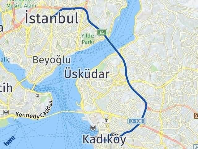İstanbul Kadıköy Arası Kaç Km? Yol Haritası - Km Hesaplama Arası Kaç Km Saat? Nerede Yol Haritası Yakıt, Rota ve Mesafe Hesaplama