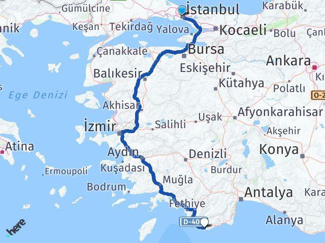 İstanbul Kaş Antalya Arası Kaç Km? - Km hesaplama Arası Kaç Km Saat? Nerede Yol Haritası Yakıt, Rota ve Mesafe Hesaplama