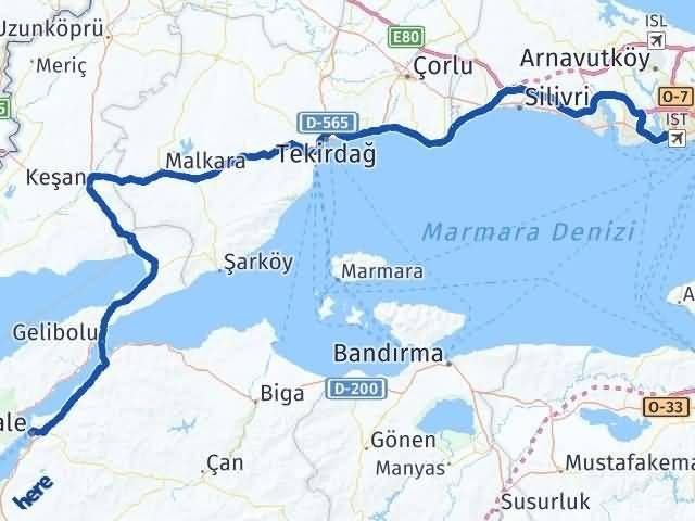 İstanbul Küçükçekmece   Çanakkale Arası Kaç Km? Arası Kaç Km Saat? Nerede Yol Haritası Yakıt, Rota ve Mesafe Hesaplama