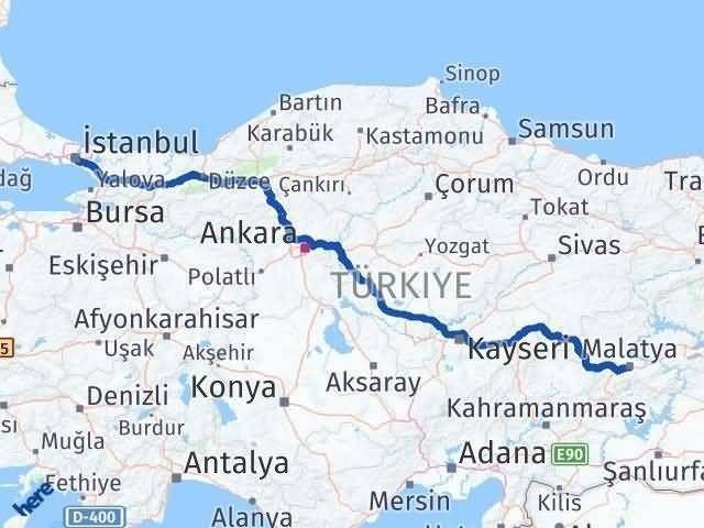 İstanbul Malatya Arası Kaç Km? Kaç Saat? - Km hesaplama Arası Kaç Km Saat? Nerede Yol Haritası Yakıt, Rota ve Mesafe Hesaplama