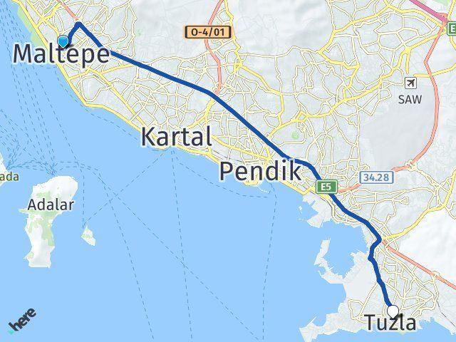 İstanbul Maltepe Tuzla Arası Kaç Km? Arası Kaç Km Saat? Nerede Yol Haritası Yakıt, Rota ve Mesafe Hesaplama