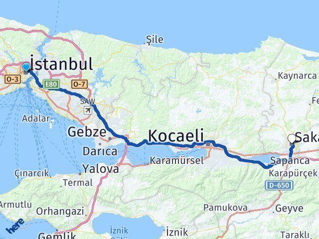 İstanbul Sakarya Arası Kaç Km? Kaç Saat? - Km hesaplama Arası Kaç Km Saat? Nerede Yol Haritası Yakıt, Rota ve Mesafe Hesaplama