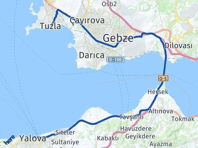 İstanbul Tuzla   Yalova Arası Kaç Km? Arası Kaç Km Saat? Nerede Yol Haritası Yakıt, Rota ve Mesafe Hesaplama