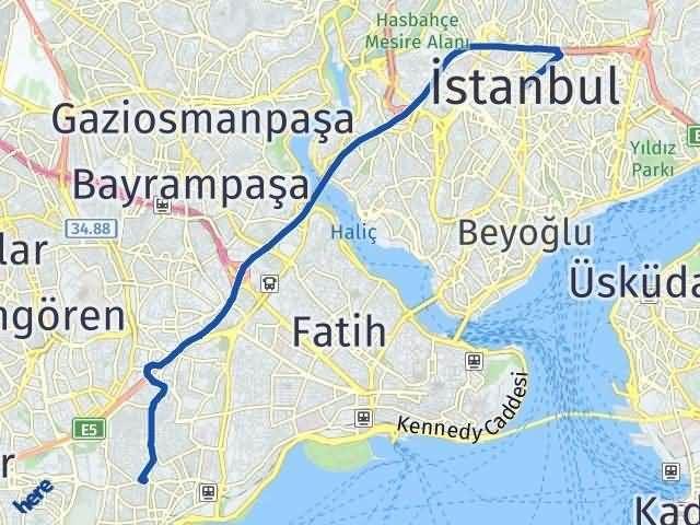 İstanbul Zeytinburnu Arası Kaç Km? Yol Haritası - Km Hesaplama Arası Kaç Km Saat? Nerede Yol Haritası Yakıt, Rota ve Mesafe Hesaplama