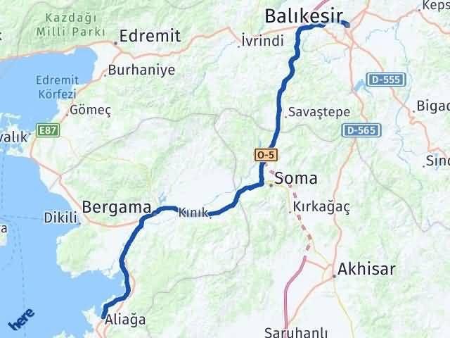 İzmir Aliağa   Balıkesir Arası Kaç Km? Arası Kaç Km Saat? Nerede Yol Haritası Yakıt, Rota ve Mesafe Hesaplama