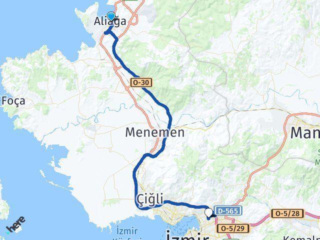 İzmir Aliağa Bayraklı Arası Kaç Km? Arası Kaç Km Saat? Nerede Yol Haritası Yakıt, Rota ve Mesafe Hesaplama