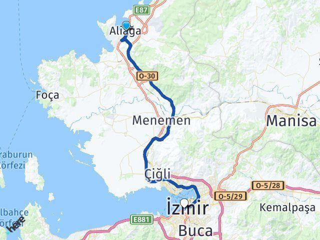 İzmir Aliağa Konak Arası Kaç Km? Arası Kaç Km Saat? Nerede Yol Haritası Yakıt, Rota ve Mesafe Hesaplama