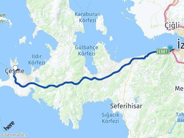 İzmir Balçova Çeşme Arası Kaç Km? Arası Kaç Km Saat? Nerede Yol Haritası Yakıt, Rota ve Mesafe Hesaplama
