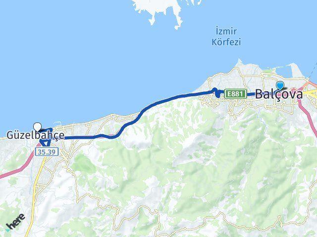 İzmir Balçova Güzelbahçe Arası Kaç Km? Arası Kaç Km Saat? Nerede Yol Haritası Yakıt, Rota ve Mesafe Hesaplama