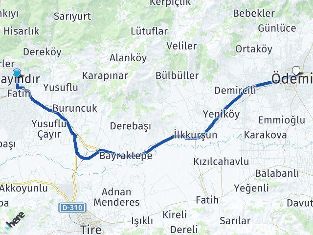 İzmir Bayındır Ödemiş Arası Kaç Km? Arası Kaç Km Saat? Nerede Yol Haritası Yakıt, Rota ve Mesafe Hesaplama