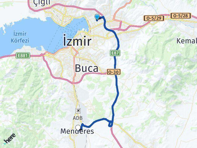 İzmir Bayraklı Menderes Arası Kaç Km? Arası Kaç Km Saat? Nerede Yol Haritası Yakıt, Rota ve Mesafe Hesaplama