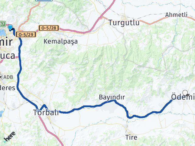 İzmir Bayraklı Ödemiş Arası Kaç Km? Arası Kaç Km Saat? Nerede Yol Haritası Yakıt, Rota ve Mesafe Hesaplama