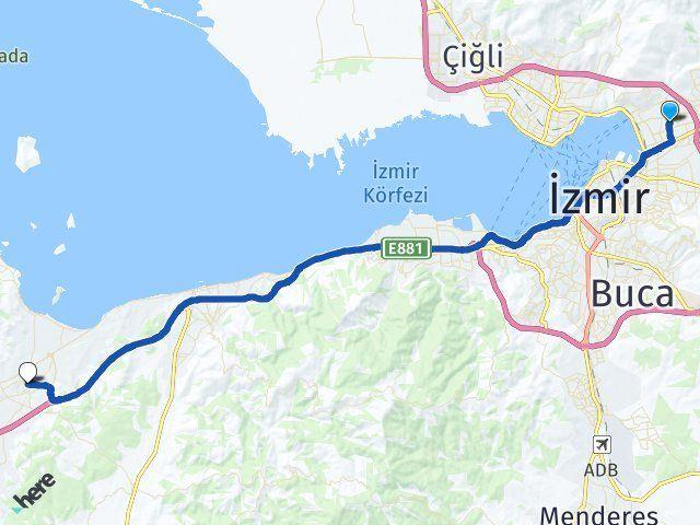 İzmir Bayraklı Urla Arası Kaç Km? Arası Kaç Km Saat? Nerede Yol Haritası Yakıt, Rota ve Mesafe Hesaplama