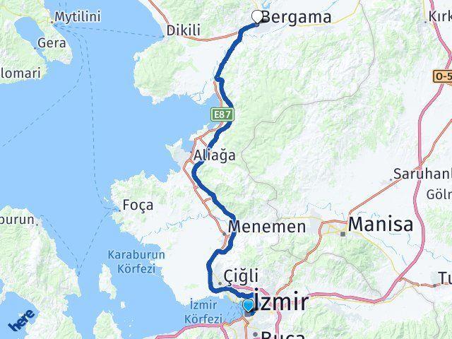 İzmir Bergama Arası Kaç Km? Yol Haritası - Km Hesaplama Arası Kaç Km Saat? Nerede Yol Haritası Yakıt, Rota ve Mesafe Hesaplama