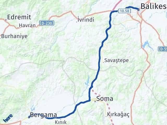 İzmir Bergama   Balıkesir Arası Kaç Km? Arası Kaç Km Saat? Nerede Yol Haritası Yakıt, Rota ve Mesafe Hesaplama