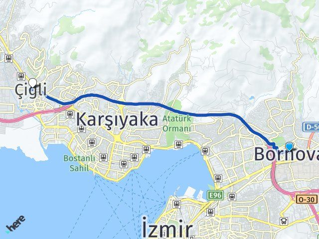 İzmir Bornova Çiğli Arası Kaç Km? Arası Kaç Km Saat? Nerede Yol Haritası Yakıt, Rota ve Mesafe Hesaplama