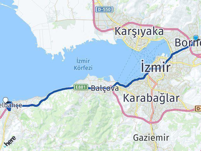 İzmir Bornova Güzelbahçe Arası Kaç Km? Arası Kaç Km Saat? Nerede Yol Haritası Yakıt, Rota ve Mesafe Hesaplama