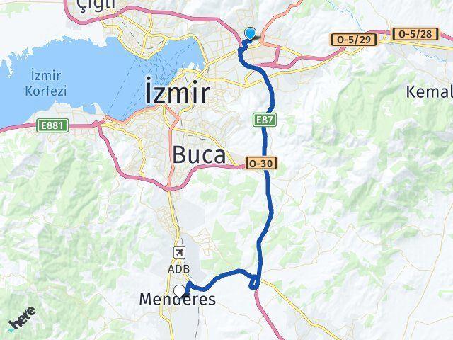 İzmir Bornova Menderes Arası Kaç Km? Arası Kaç Km Saat? Nerede Yol Haritası Yakıt, Rota ve Mesafe Hesaplama