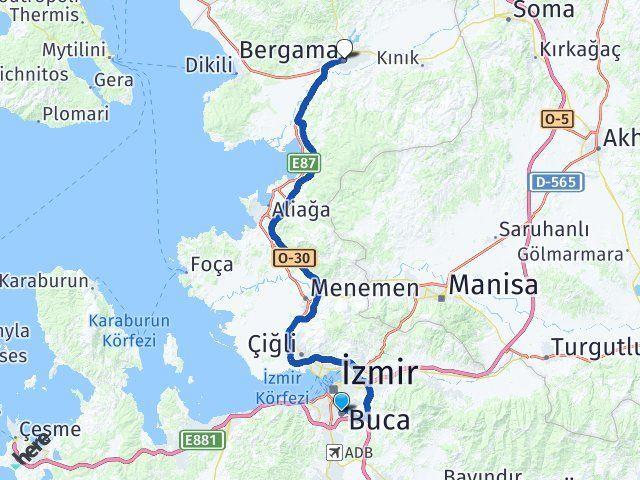 İzmir Buca Bergama Arası Kaç Km? Arası Kaç Km Saat? Nerede Yol Haritası Yakıt, Rota ve Mesafe Hesaplama