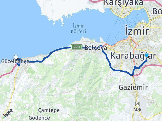 İzmir Buca Güzelbahçe Arası Kaç Km? Arası Kaç Km Saat? Nerede Yol Haritası Yakıt, Rota ve Mesafe Hesaplama