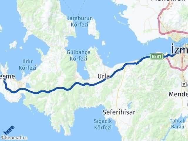 İzmir Çeşme Arası Kaç Km? Yol Haritası - Km Hesaplama Arası Kaç Km Saat? Nerede Yol Haritası Yakıt, Rota ve Mesafe Hesaplama