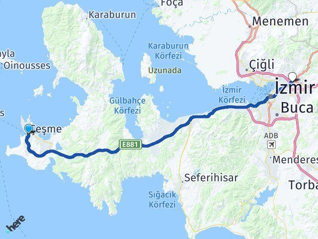İzmir Çeşme Bornova Arası Kaç Km? Arası Kaç Km Saat? Nerede Yol Haritası Yakıt, Rota ve Mesafe Hesaplama