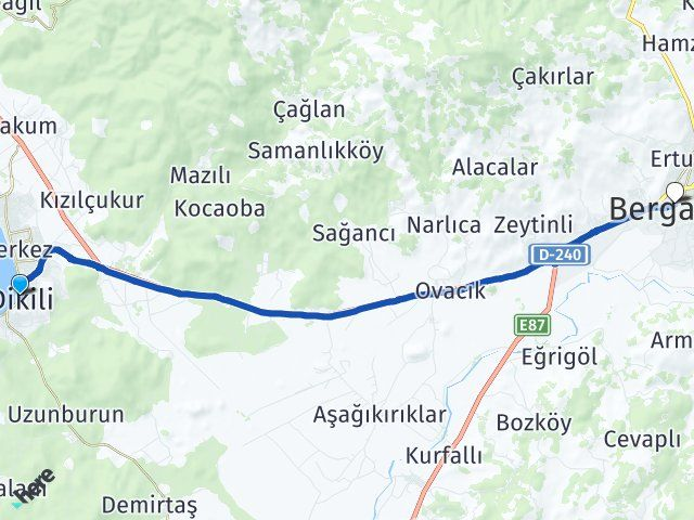 İzmir Dikili Bergama Arası Kaç Km? Arası Kaç Km Saat? Nerede Yol Haritası Yakıt, Rota ve Mesafe Hesaplama