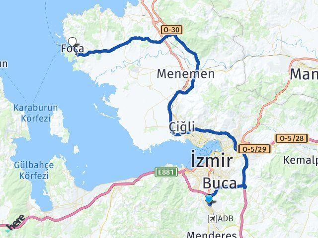 İzmir Gaziemir Foça Arası Kaç Km? Arası Kaç Km Saat? Nerede Yol Haritası Yakıt, Rota ve Mesafe Hesaplama