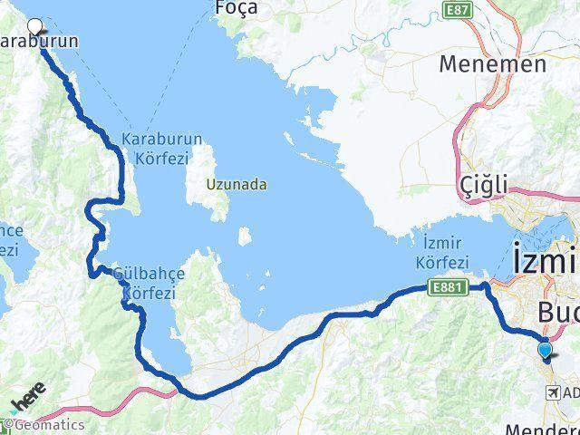 İzmir Gaziemir Karaburun Arası Kaç Km? Arası Kaç Km Saat? Nerede Yol Haritası Yakıt, Rota ve Mesafe Hesaplama