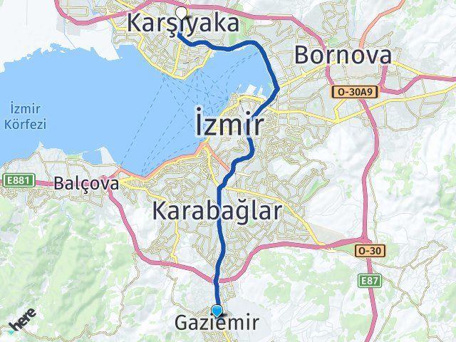 İzmir Gaziemir Karşıyaka Arası Kaç Km? Arası Kaç Km Saat? Nerede Yol Haritası Yakıt, Rota ve Mesafe Hesaplama