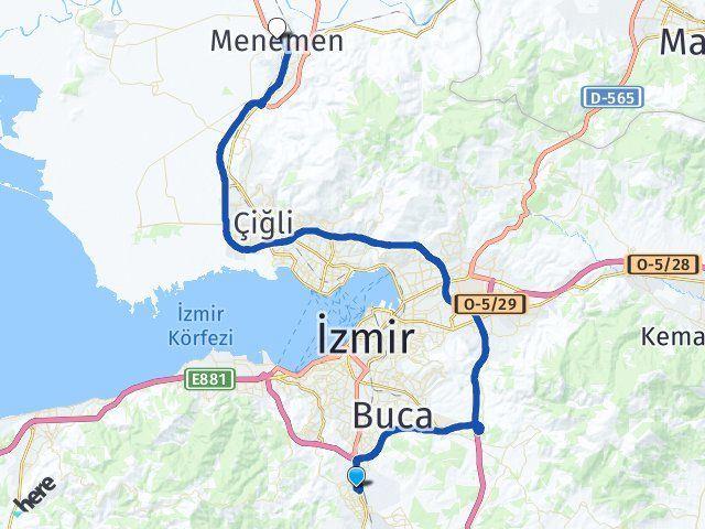 İzmir Gaziemir Menemen Arası Kaç Km? Arası Kaç Km Saat? Nerede Yol Haritası Yakıt, Rota ve Mesafe Hesaplama