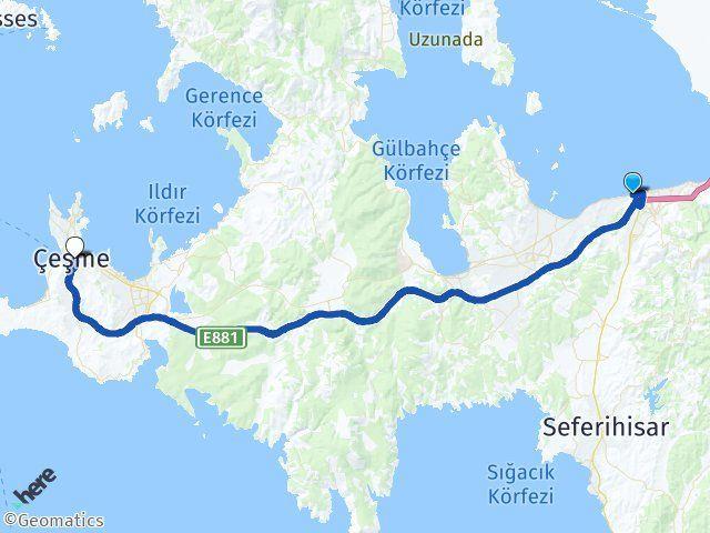 İzmir Güzelbahçe Çeşme Arası Kaç Km? Arası Kaç Km Saat? Nerede Yol Haritası Yakıt, Rota ve Mesafe Hesaplama