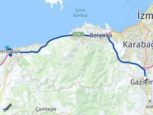 İzmir Güzelbahçe Gaziemir Arası Kaç Km? Arası Kaç Km Saat? Nerede Yol Haritası Yakıt, Rota ve Mesafe Hesaplama