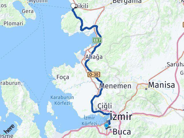 İzmir Karabağlar Dikili Arası Kaç Km? Arası Kaç Km Saat? Nerede Yol Haritası Yakıt, Rota ve Mesafe Hesaplama